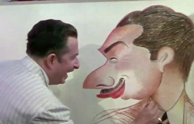 Xavier Cugat dibujando su propia caricatura